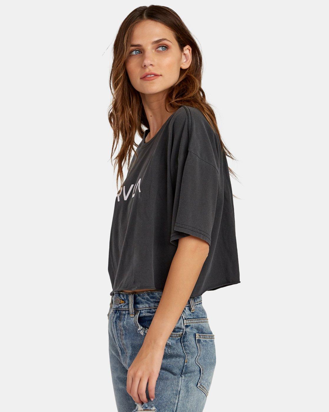 1 Big RVCA Cropped T-Shirt Black W441WRBR RVCA