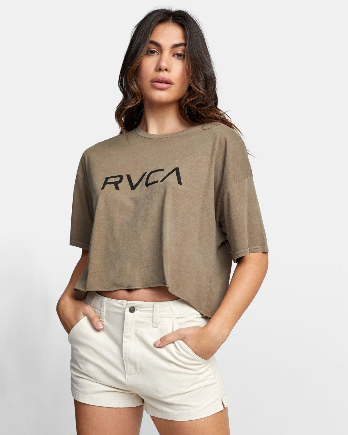 0 BIG RVCA CROP T-SHIRT Green W441WRBR RVCA