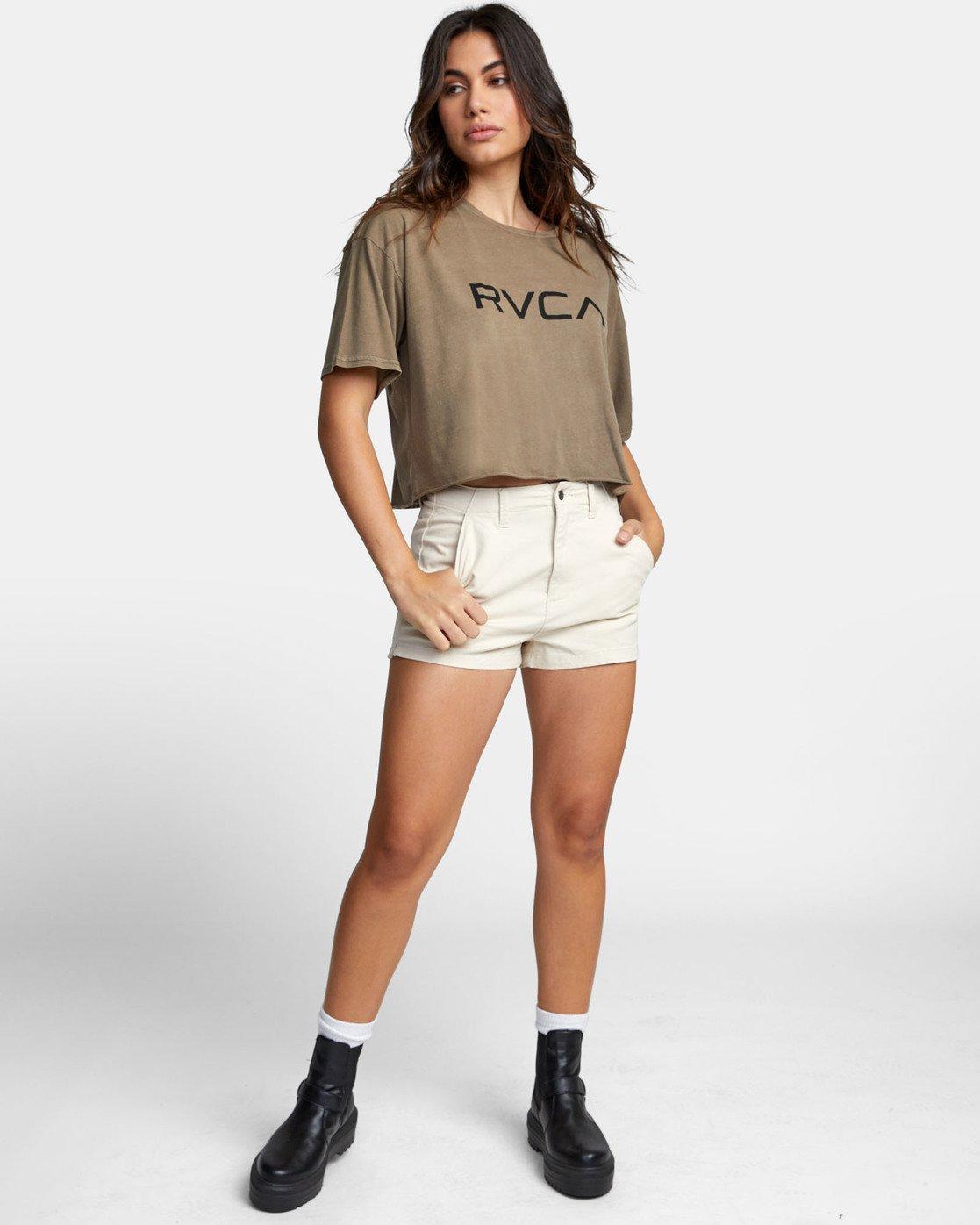 1 BIG RVCA CROP T-SHIRT Green W441WRBR RVCA