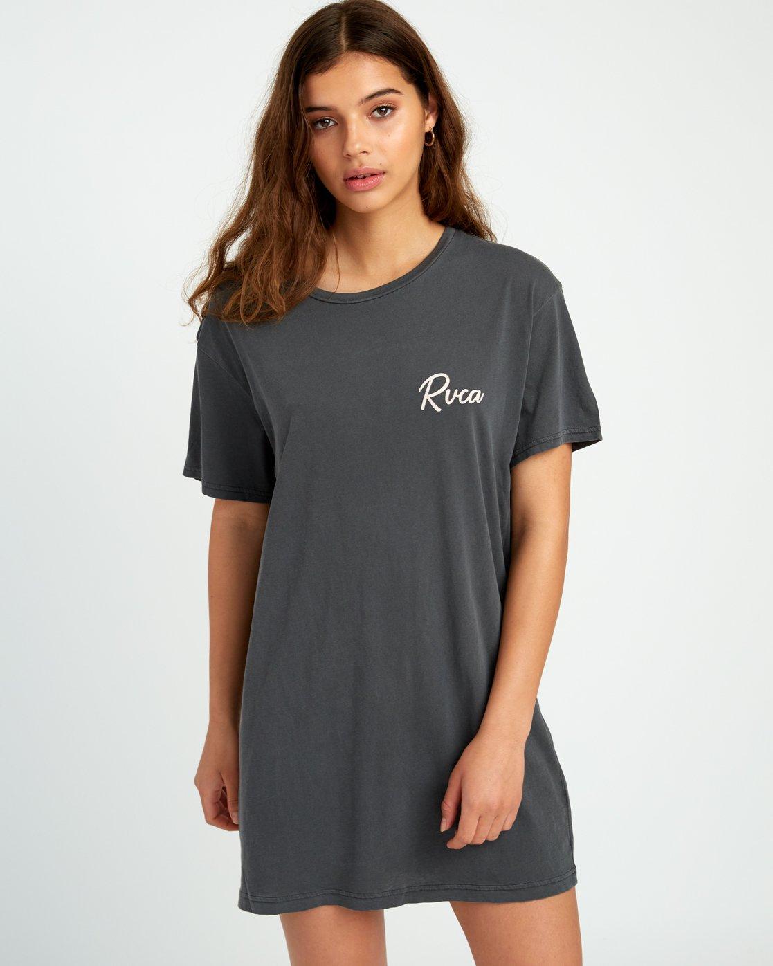 0 Next Wave T-Shirt Dress Black W442URNE RVCA