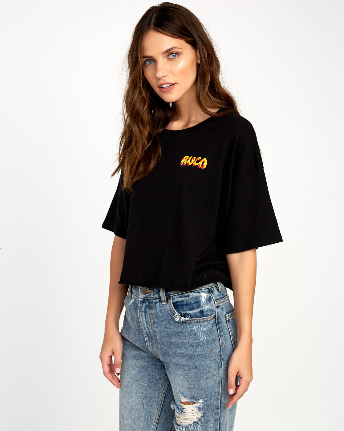 2 Matty's Patty's Cropped T-Shirt Black W444URMD RVCA