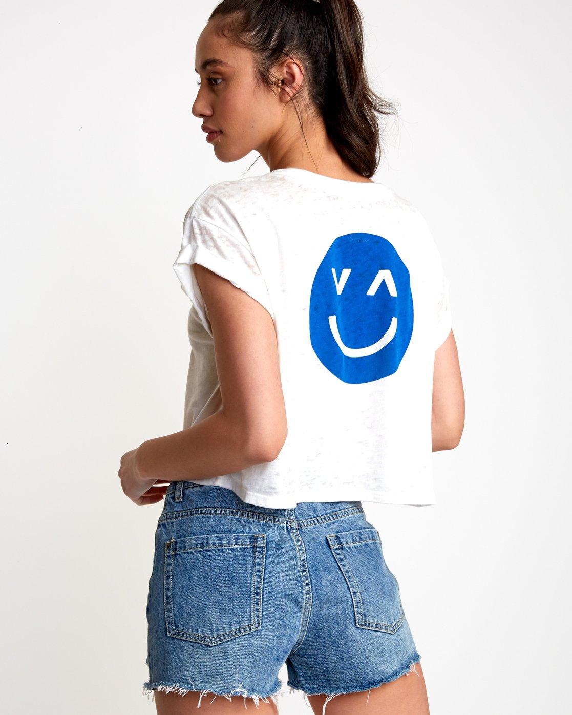 0 Happy Sad Cropped T-Shirt White W445VRHA RVCA