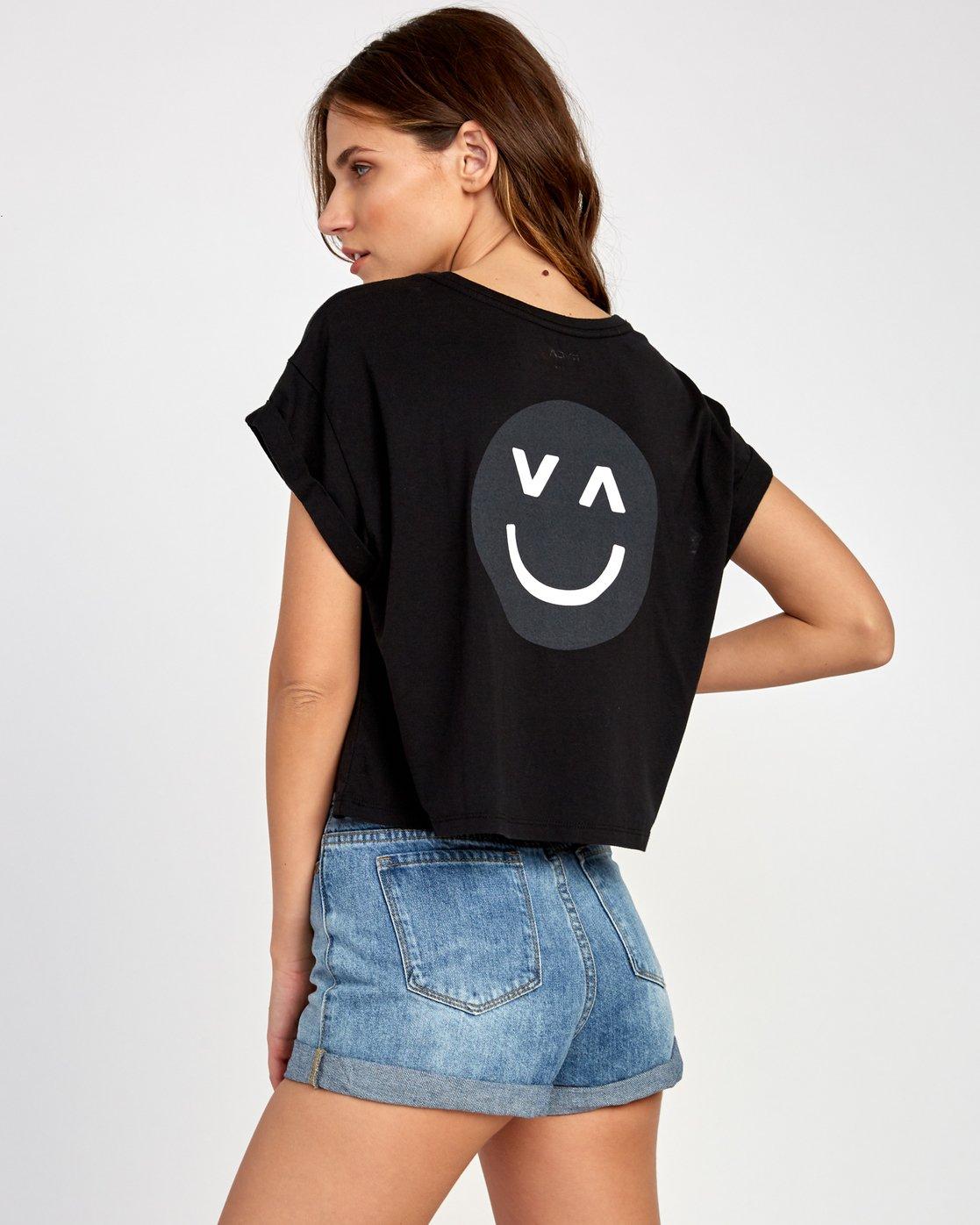 0 Happy Sad Cropped T-Shirt Black W445VRHA RVCA