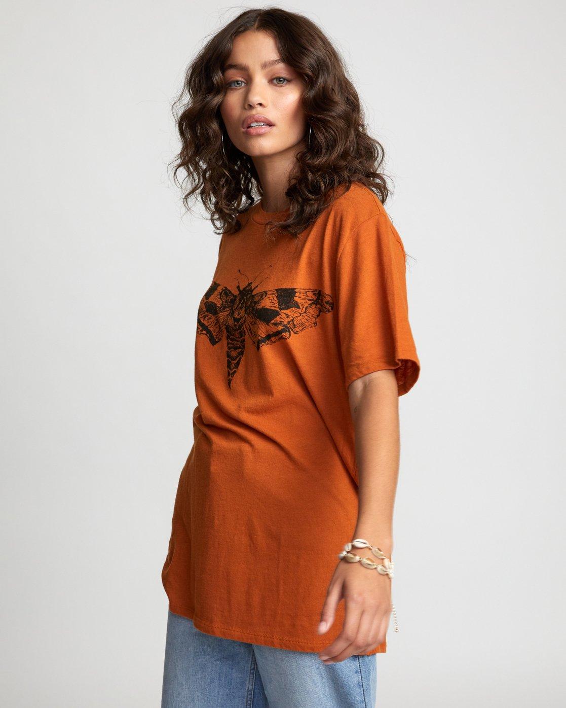 3 LUNA MOTH TEE Orange W4503RLM RVCA