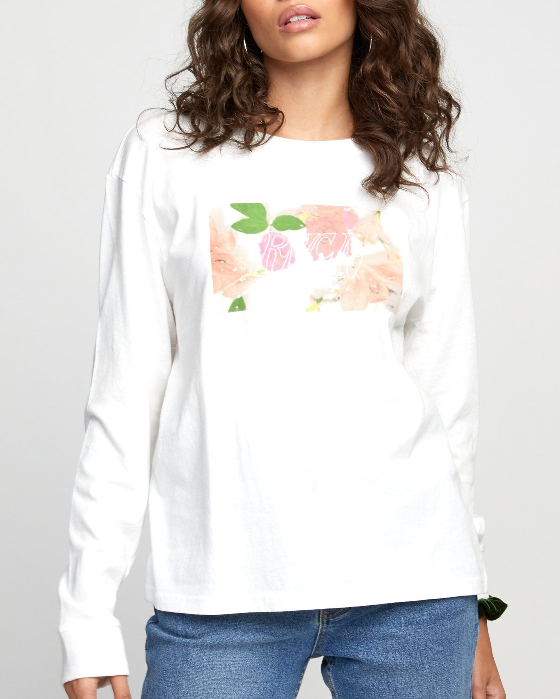 2 FLORA LONG SLEEVE T-SHIRT White W4523RFL RVCA
