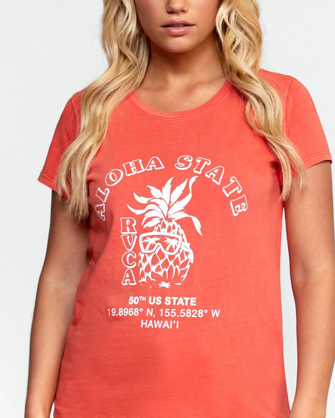 5 ALOHA SHOP TEE Orange W4532RAS RVCA