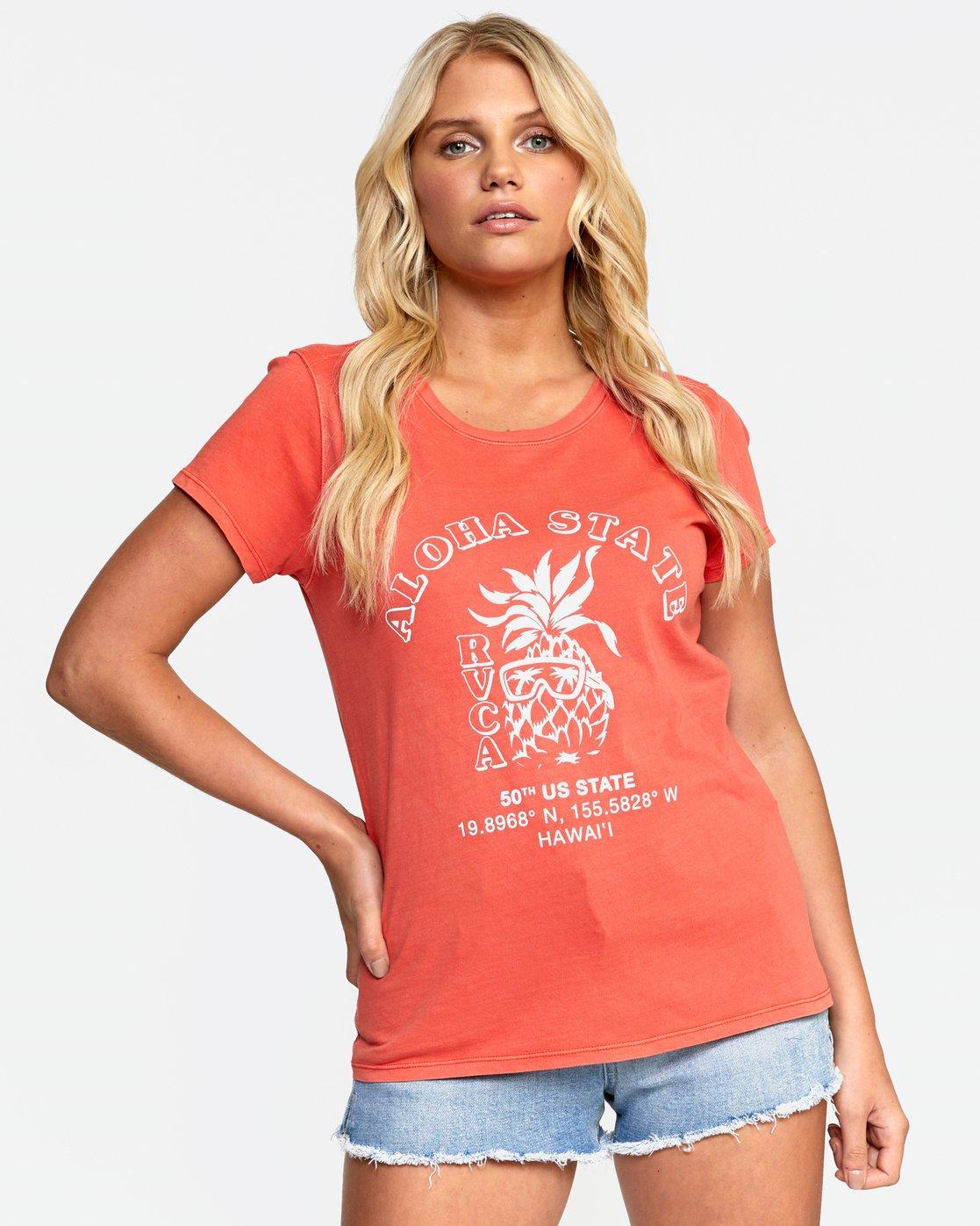 0 ALOHA SHOP TEE Orange W4532RAS RVCA