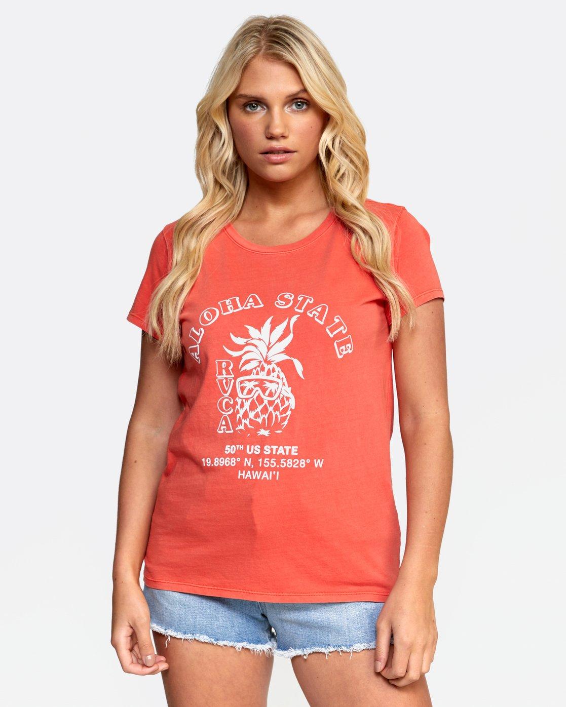 1 ALOHA SHOP TEE Orange W4532RAS RVCA