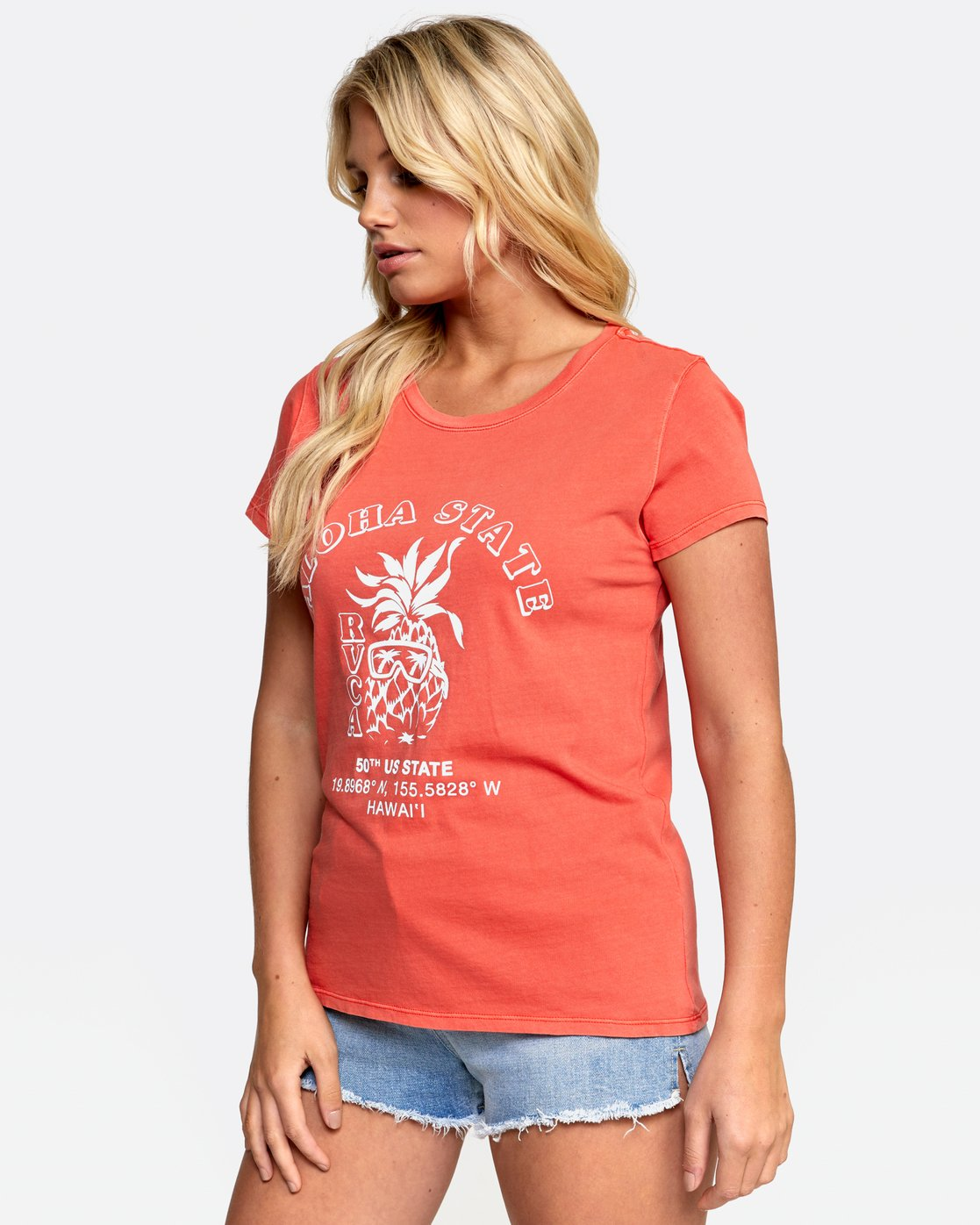 3 ALOHA SHOP TEE Orange W4532RAS RVCA