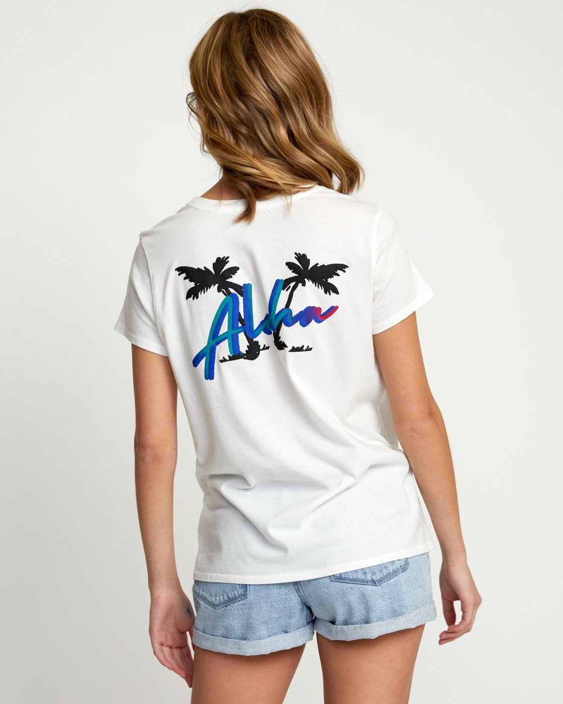 2 ALOHA RAINBOW SHORT SLEEVE T-SHIRT White W4533RAR RVCA