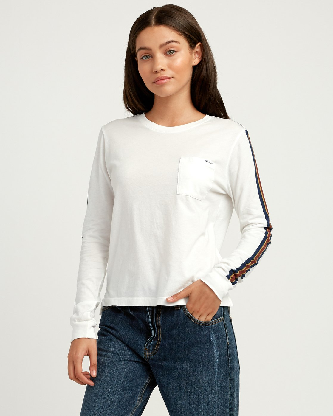 1 Day Sleeves Striped Long Sleeve T-Shirt White W456QRDS RVCA