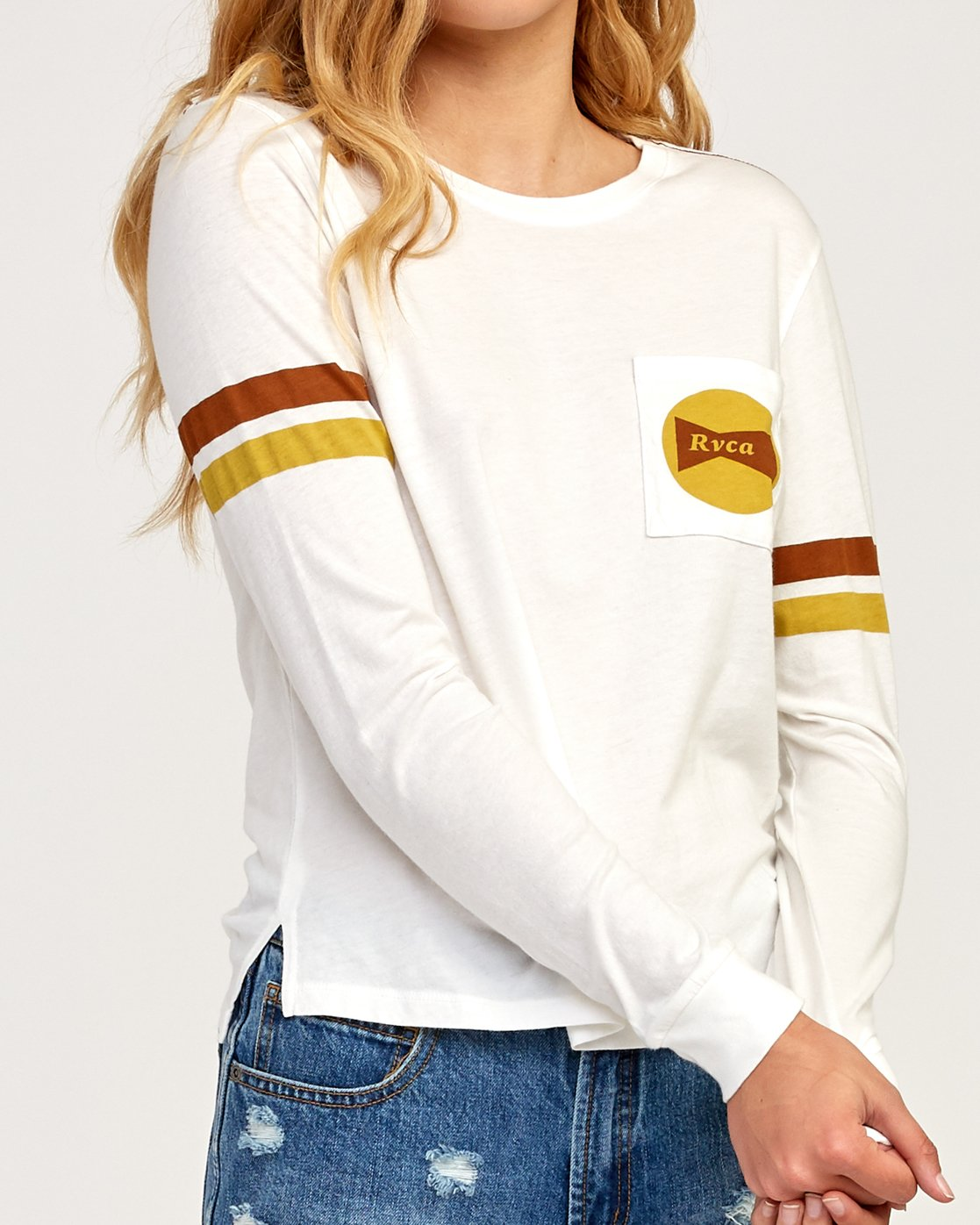 3 Bow-Tied Long Sleeve T-Shirt White W456TRBO RVCA