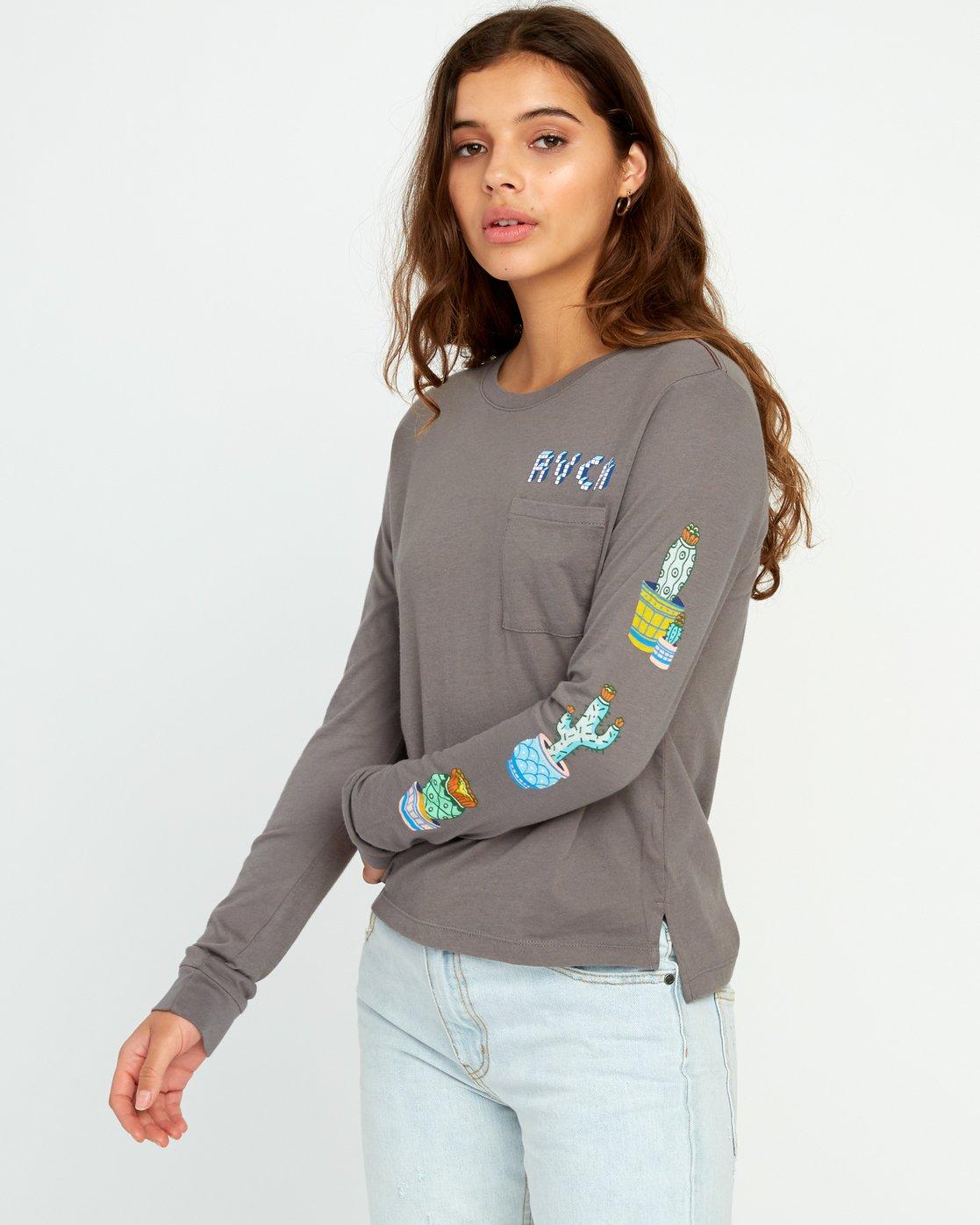 1 KLW Cacti Long Sleeve Pocket T-Shirt Grey W456URCA RVCA