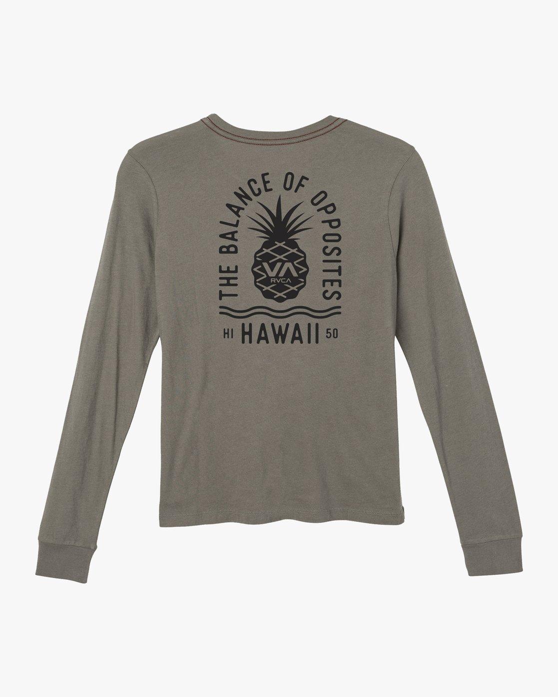 1 Rising Pineapple Long Sleeve T-Shirt Grey W456URRP RVCA