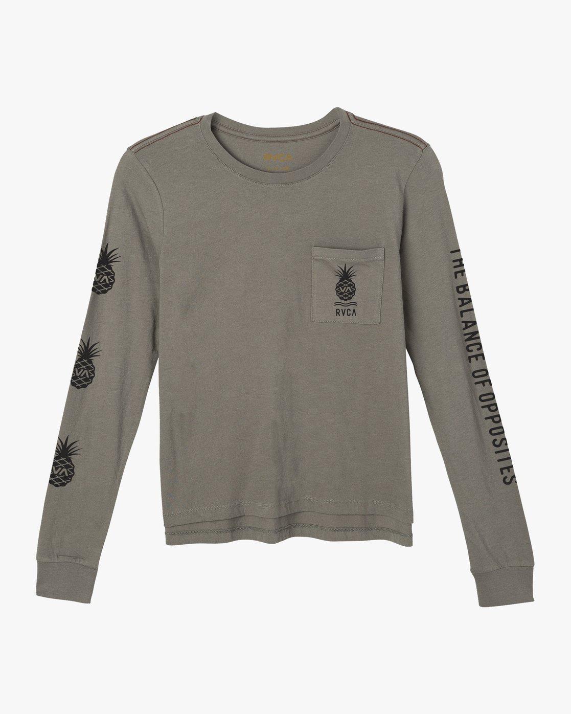 0 Rising Pineapple Long Sleeve T-Shirt Grey W456URRP RVCA