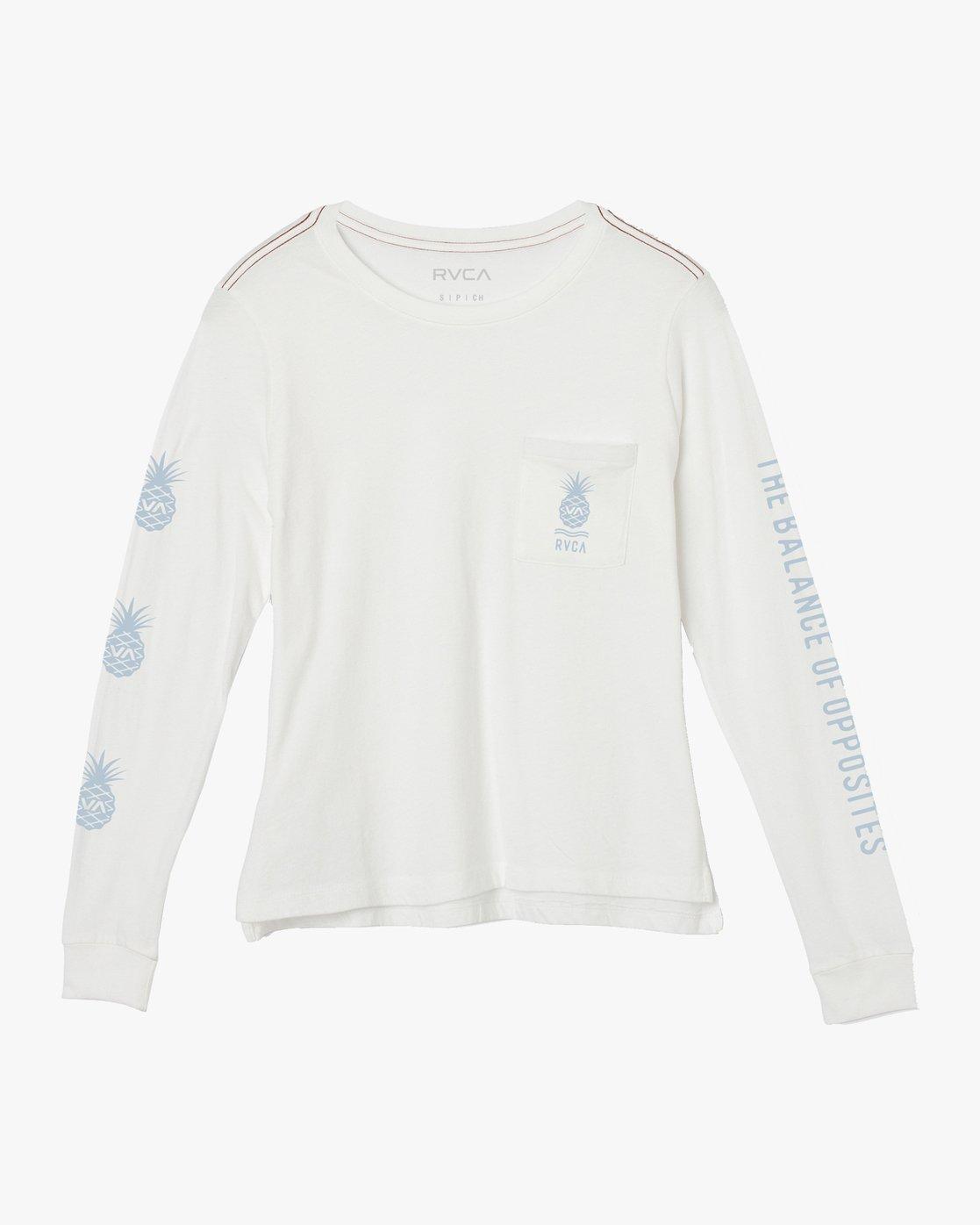 0 Rising Pineapple Long Sleeve T-Shirt White W456URRP RVCA