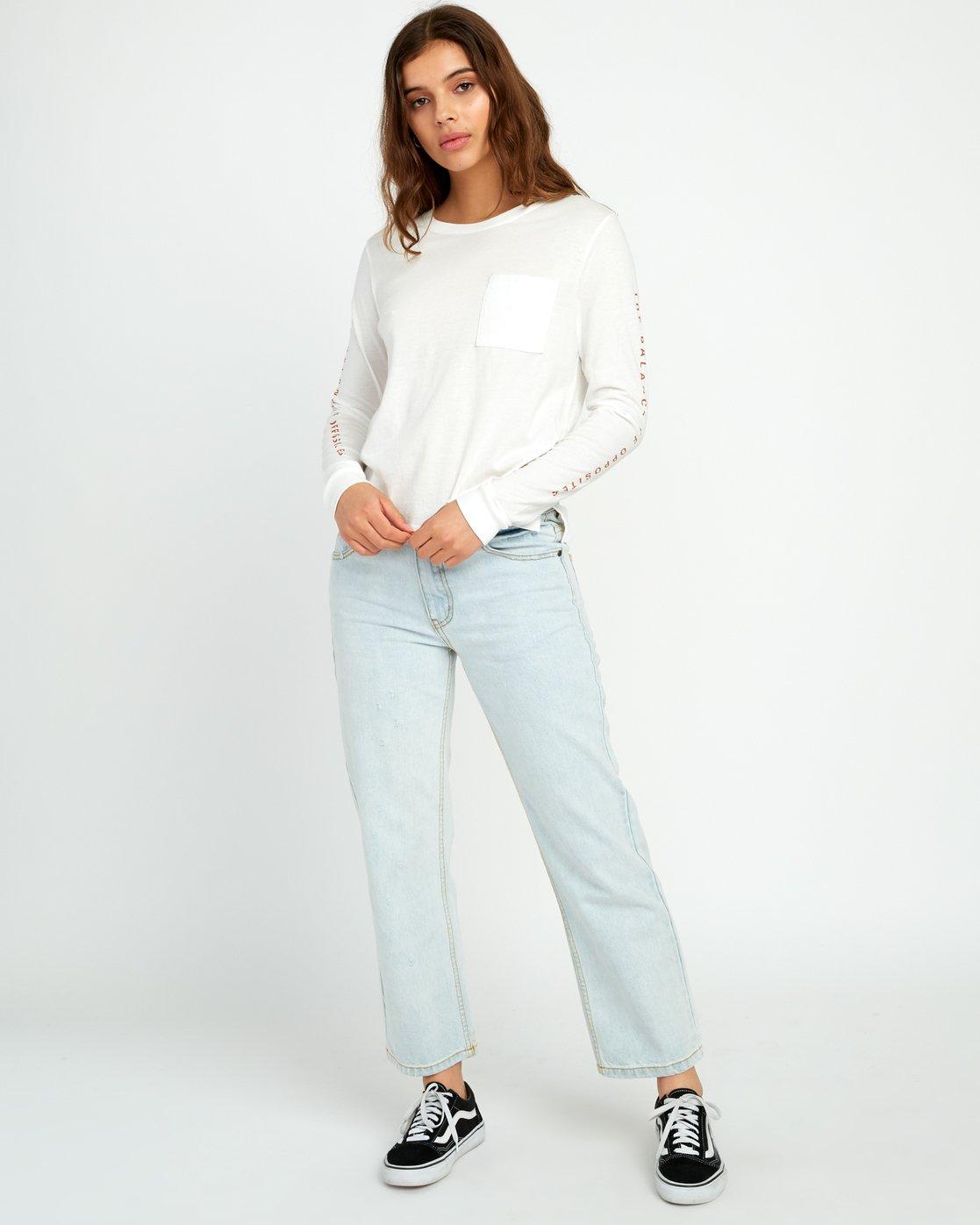 5 Split Up Long Sleeve Pocket T-Shirt White W456URSP RVCA