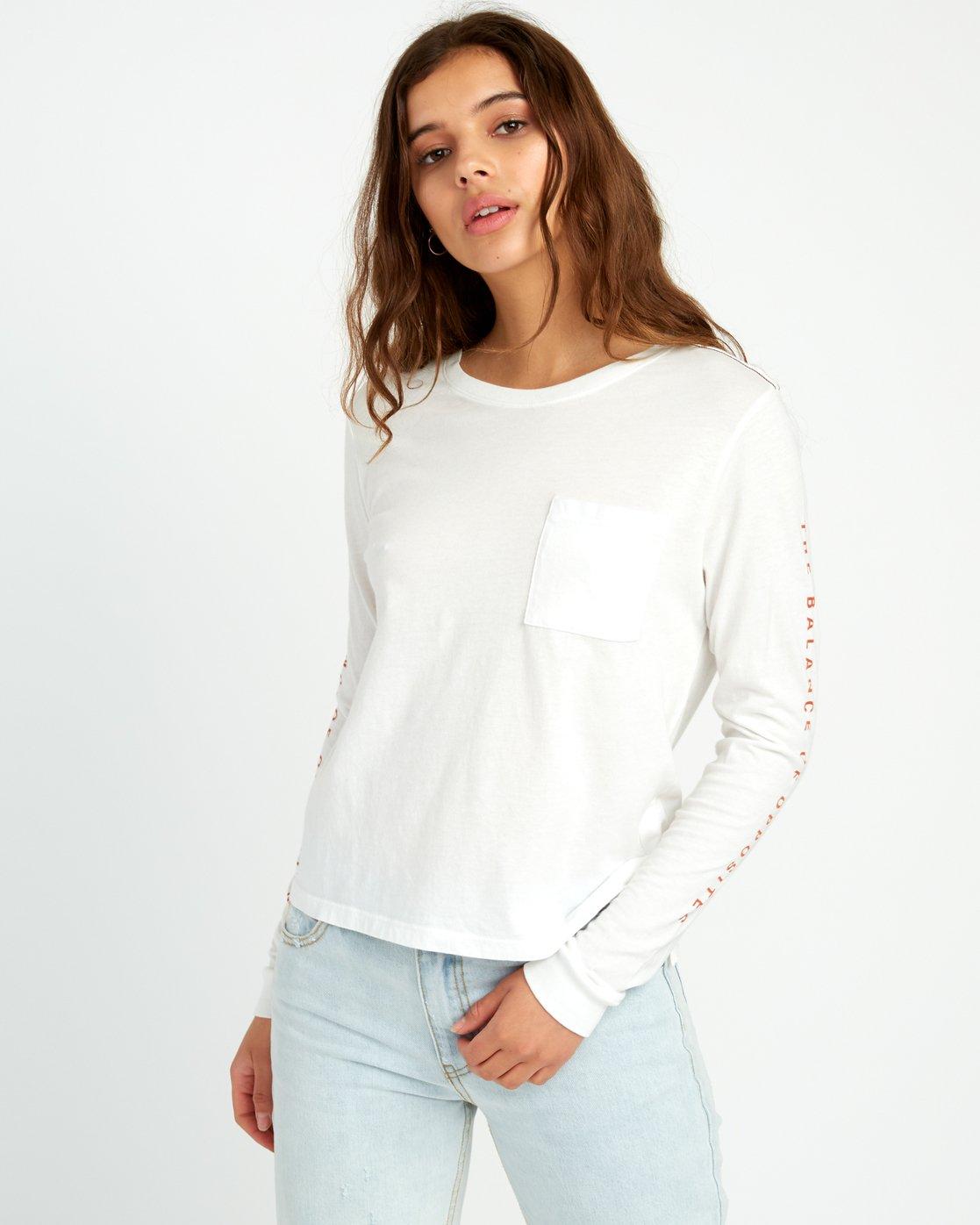 1 Split Up Long Sleeve Pocket T-Shirt White W456URSP RVCA