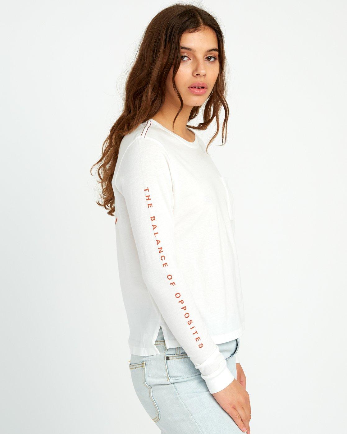 3 Split Up Long Sleeve Pocket T-Shirt White W456URSP RVCA