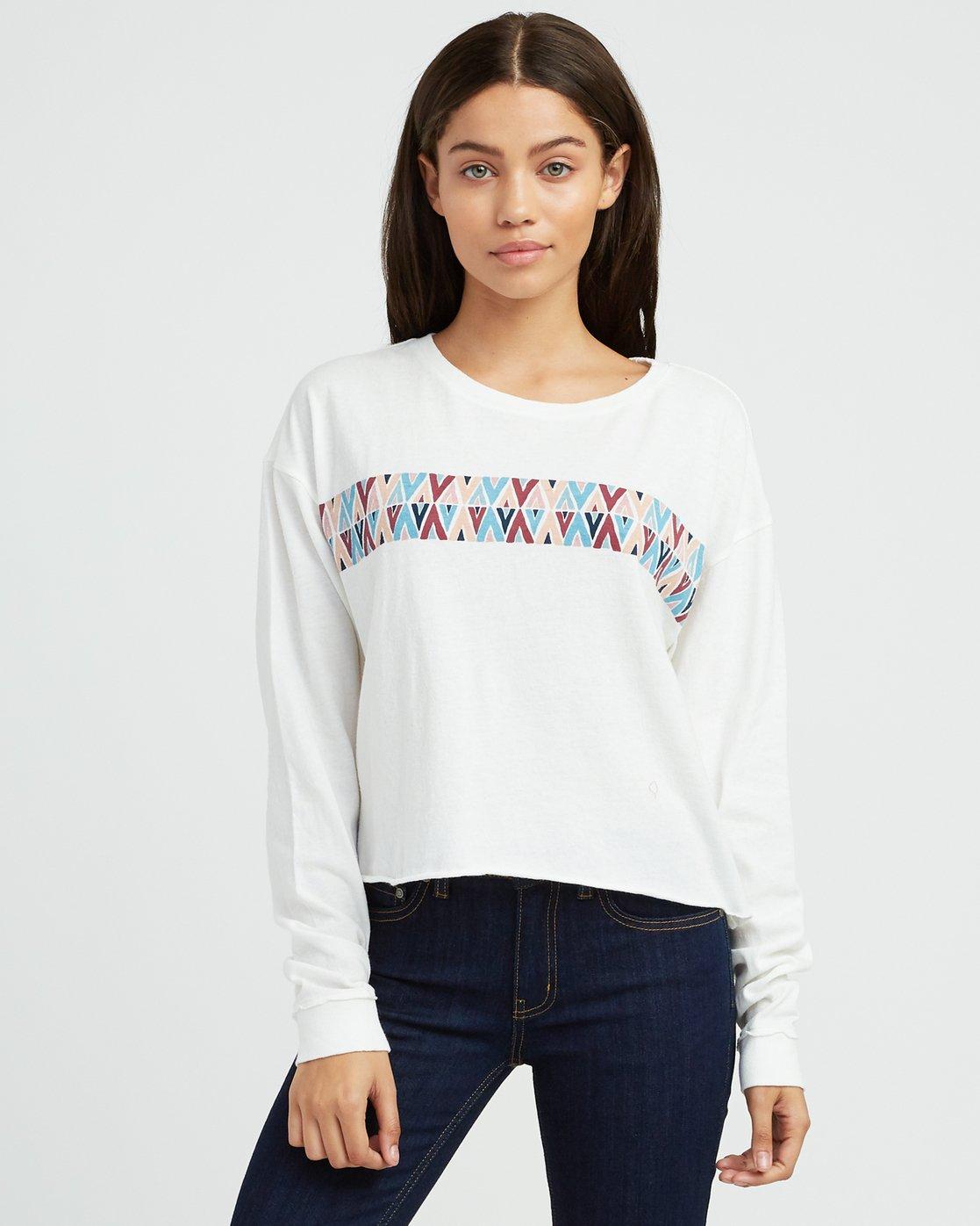 0 Mod Stripe Knit T-Shirt White W458SRMO RVCA