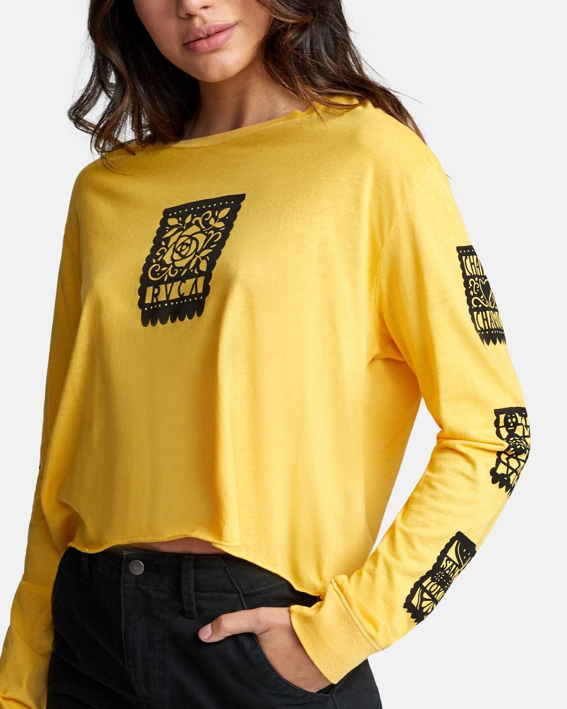 5 LA ROSA LONG SLEEVE BOYFRIEND T-SHIRT Yellow W4671RLR RVCA