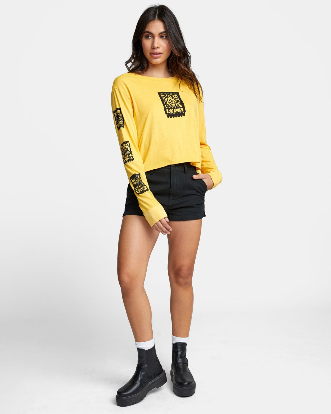 1 LA ROSA LONG SLEEVE BOYFRIEND T-SHIRT Yellow W4671RLR RVCA