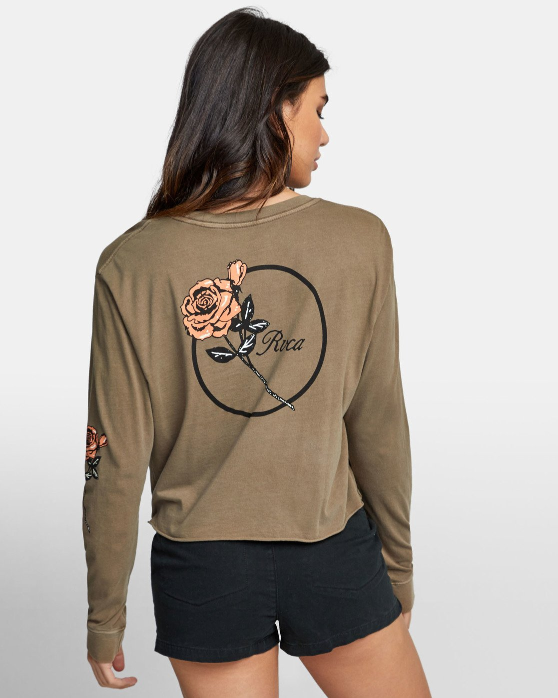 3 THORNS LONG SLEEVE BOYFRIEND T-SHIRT Green W4671RTH RVCA