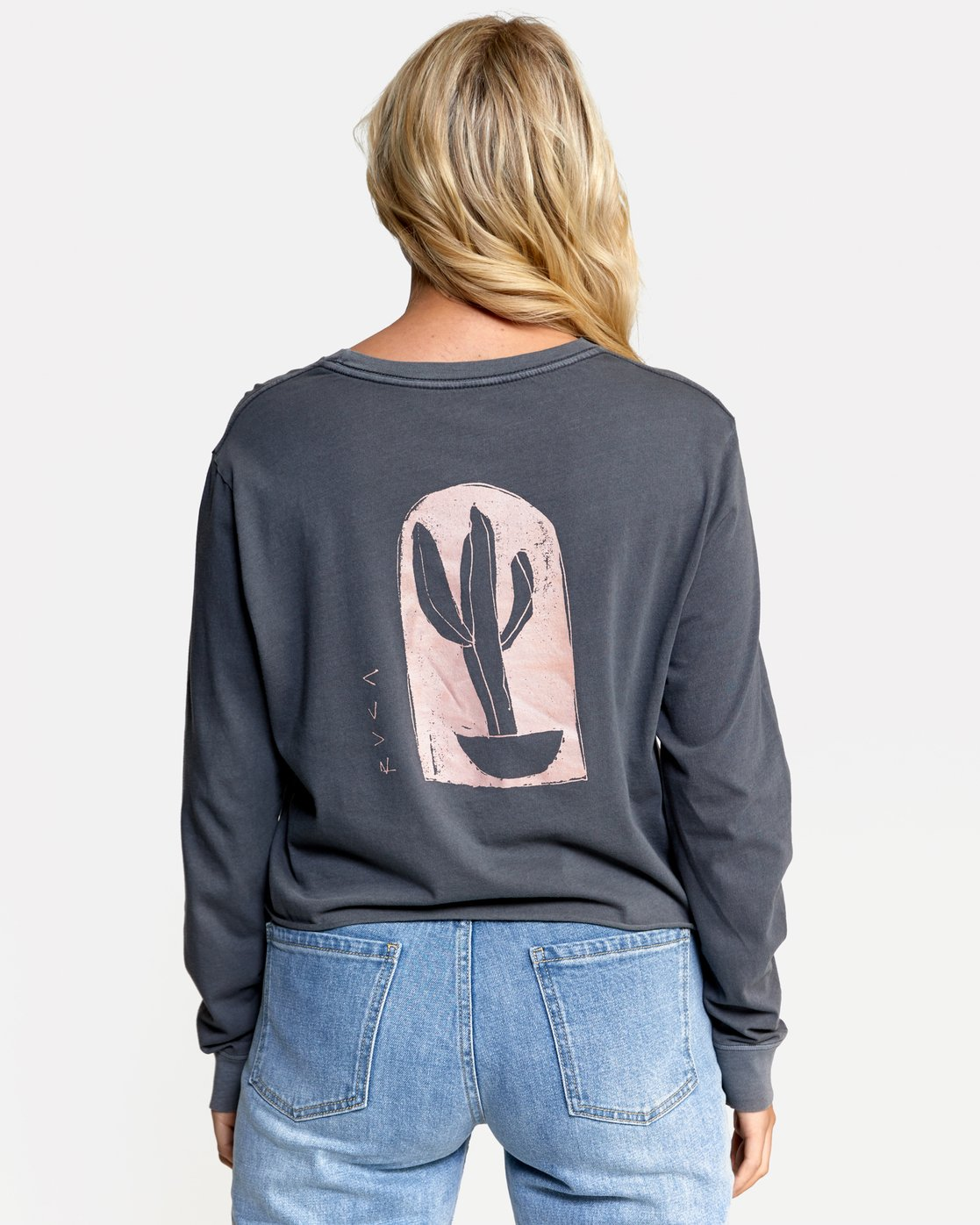 2 HOUSE PLANTS LONG SLEEVE BOYFRIEND TEE Green W4672RHP RVCA