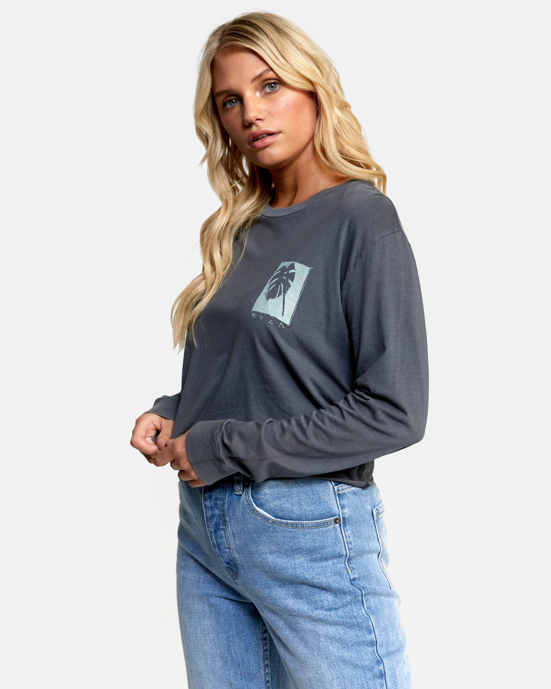 1 HOUSE PLANTS LONG SLEEVE BOYFRIEND TEE Green W4672RHP RVCA