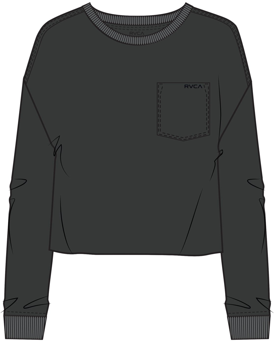 4 PTC LONG SLEEVE BOYFRIEND T-SHIRT Black W4673RPT RVCA