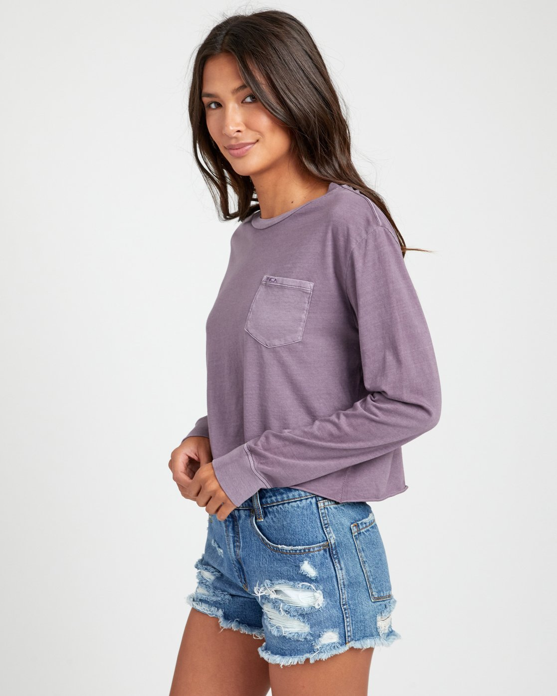 3 PTC LONG SLEEVE BOYFRIEND T-SHIRT Grey W4673RPT RVCA