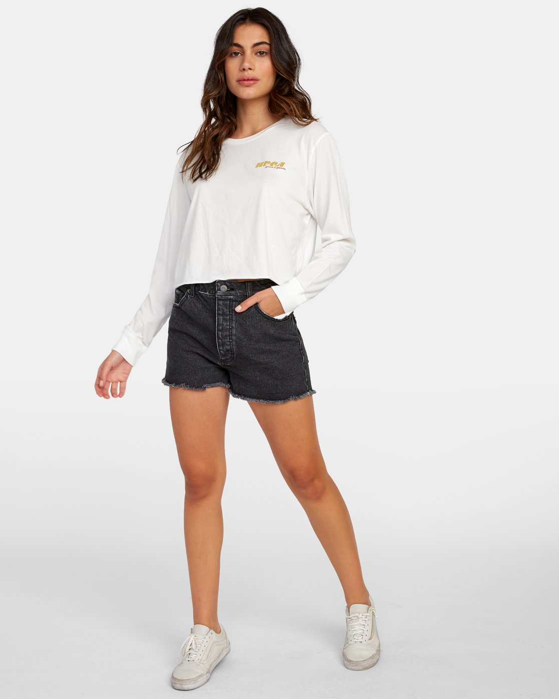 3 Breezy Long Sleeve Boyfriend T-Shirt White W467WRBR RVCA