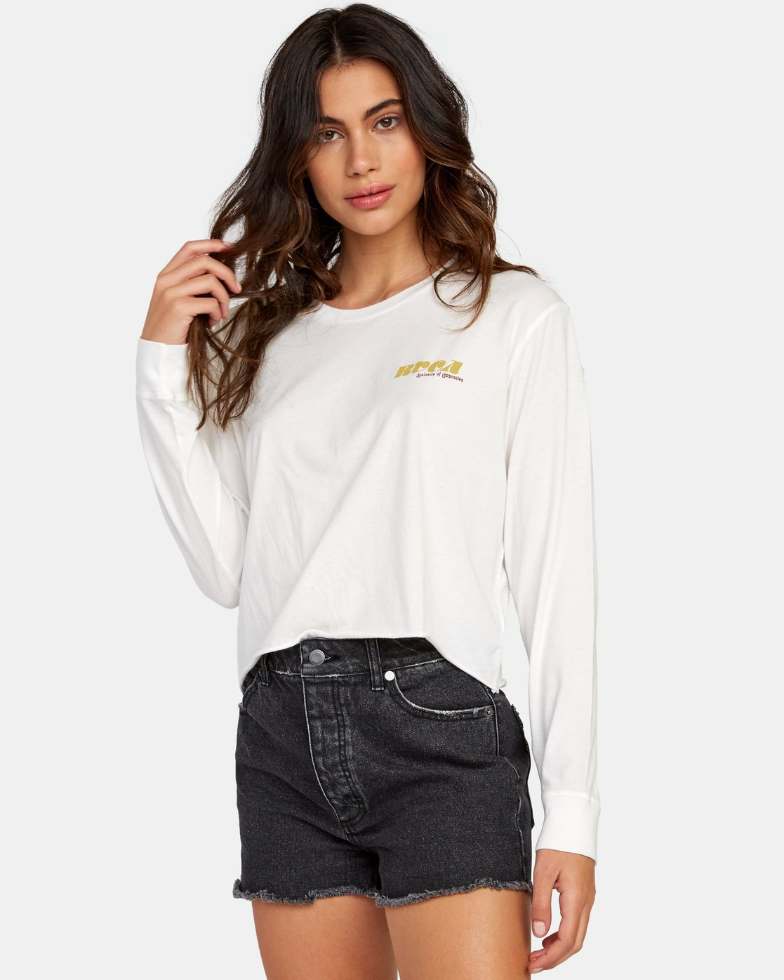 0 Breezy Long Sleeve Boyfriend T-Shirt White W467WRBR RVCA