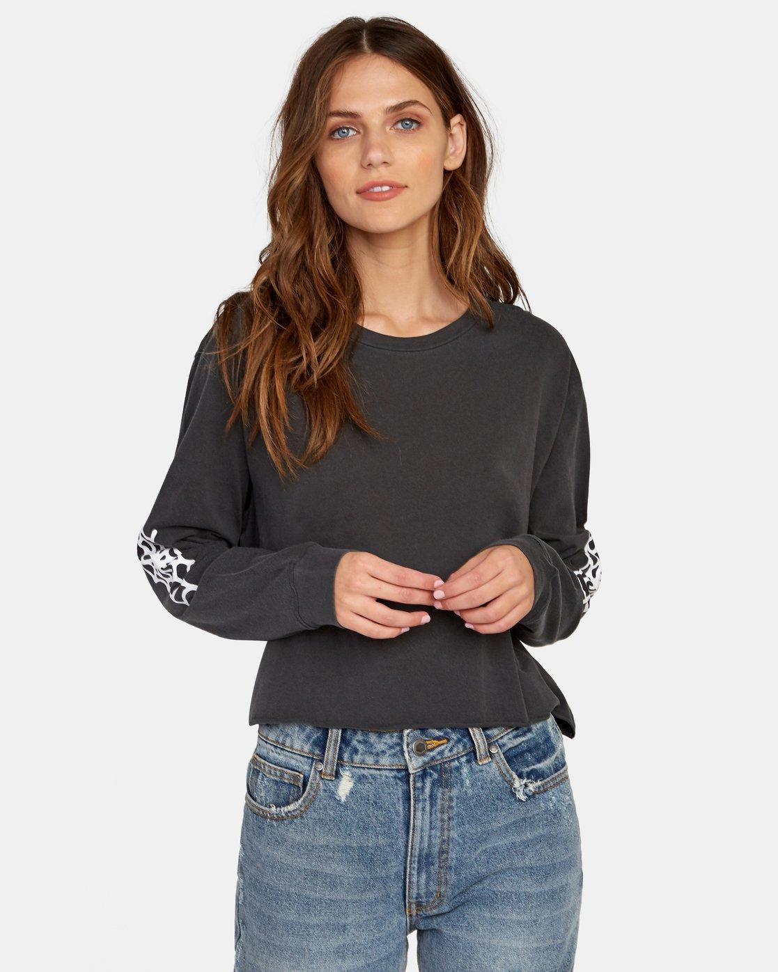 0 Cobbweb Long Sleeve Boyfriend T-Shirt Black W467WRCO RVCA