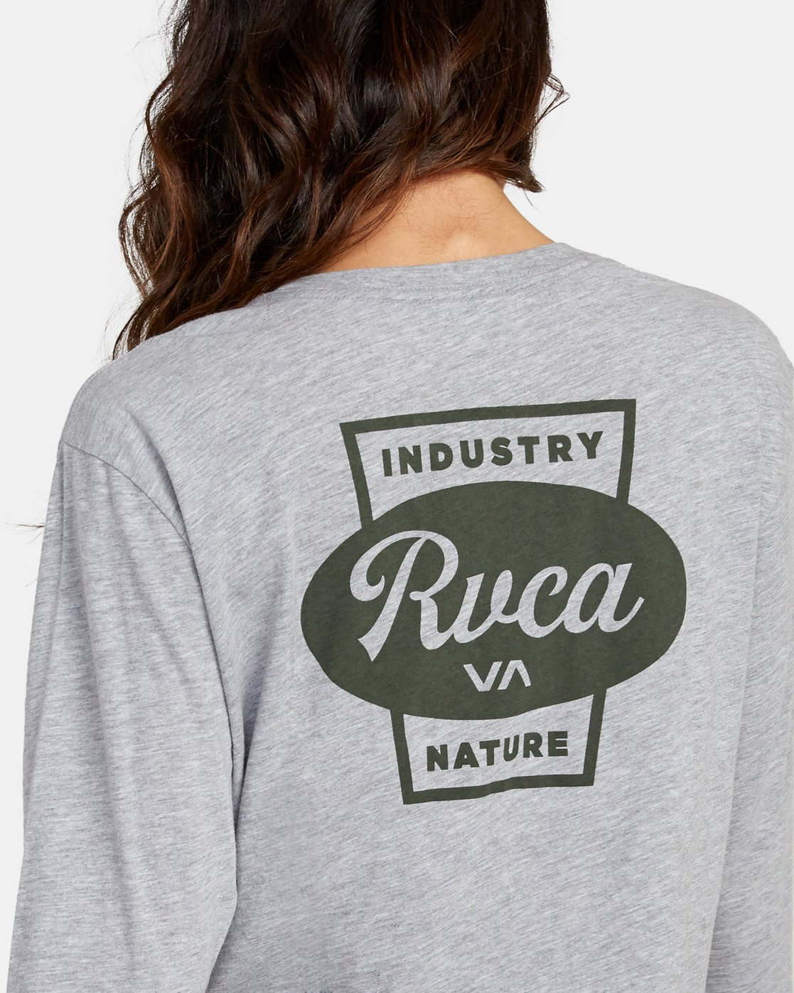 4 Decca Long Sleeve Boyfriend T-Shirt Grey W467WRDE RVCA