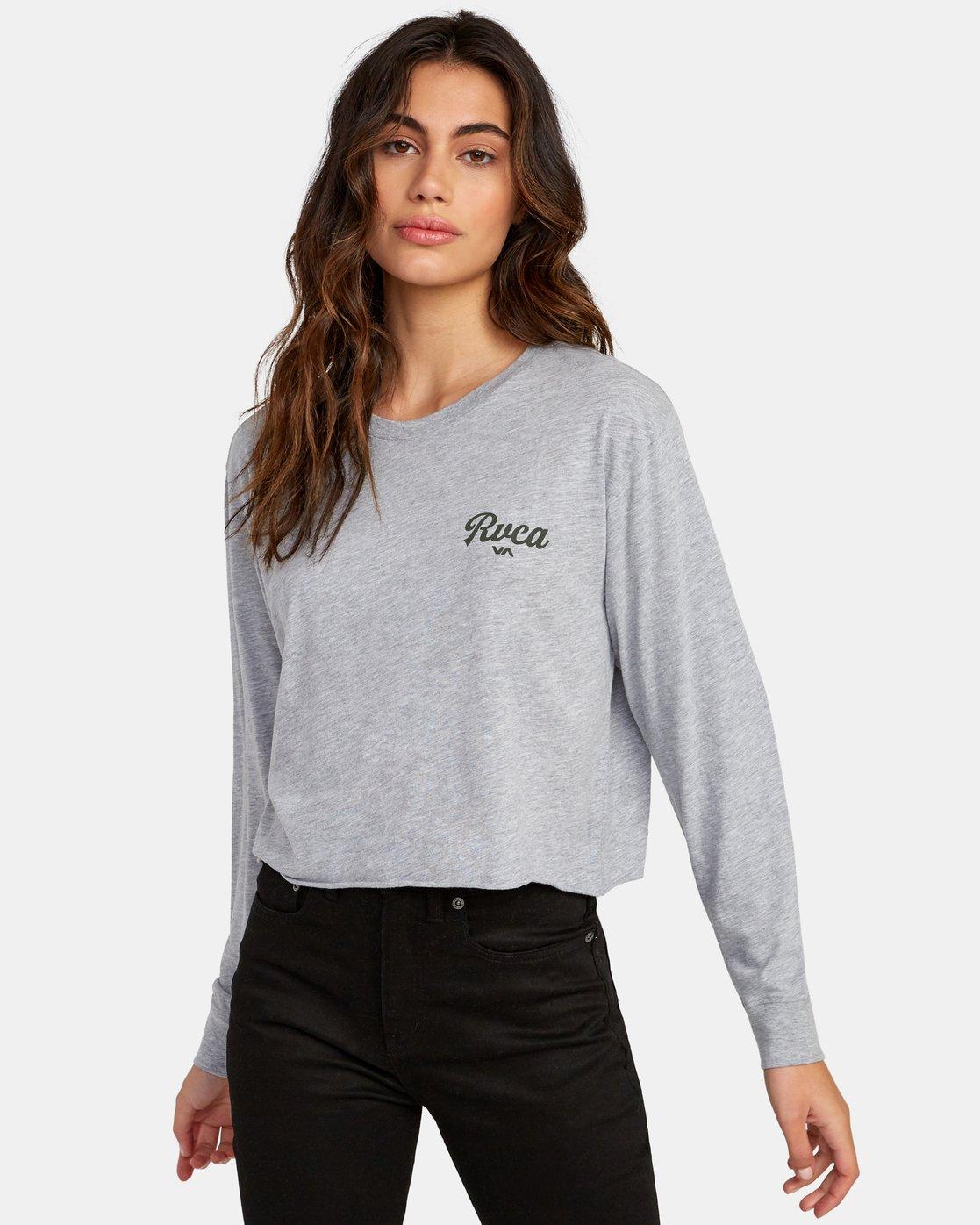 0 Decca Long Sleeve Boyfriend T-Shirt Grey W467WRDE RVCA