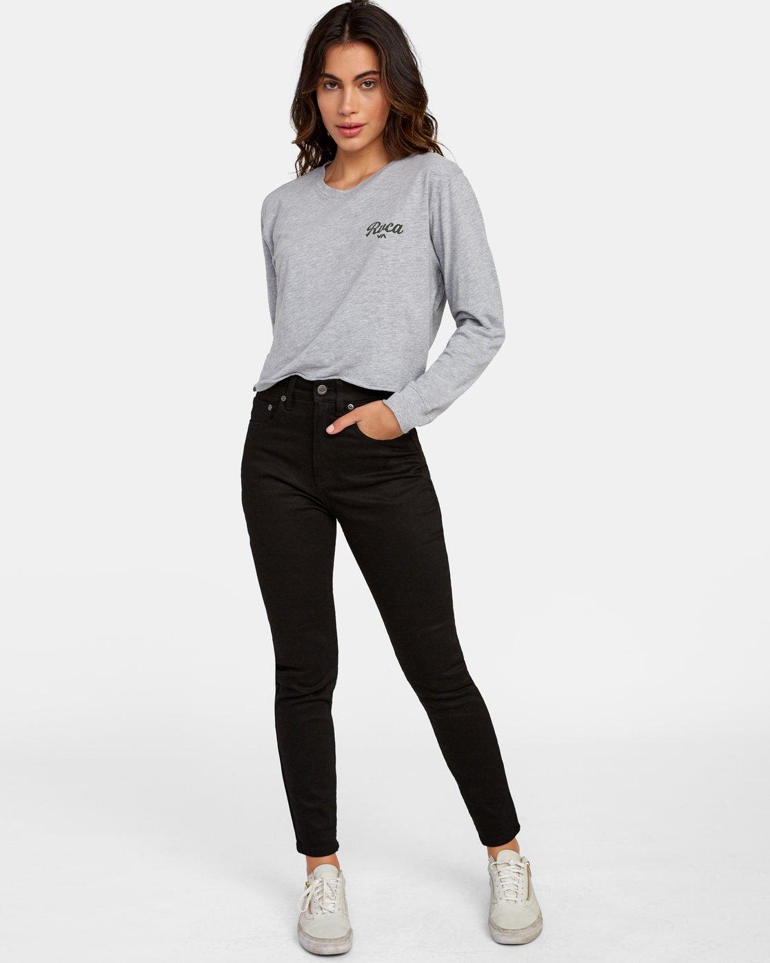 1 Decca Long Sleeve Boyfriend T-Shirt Grey W467WRDE RVCA