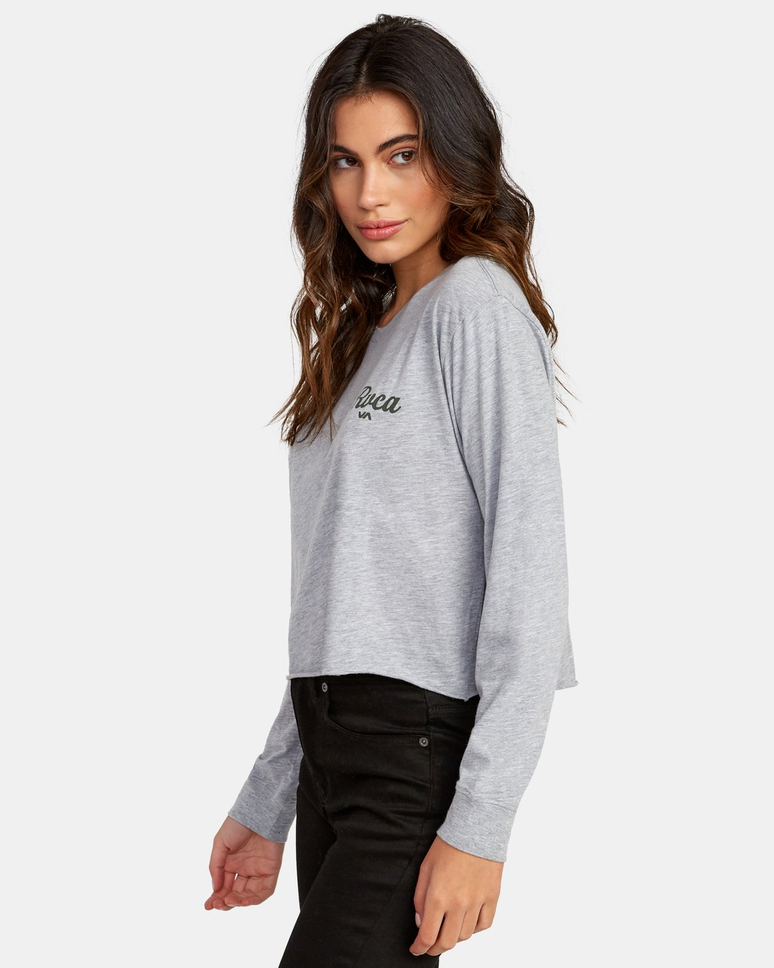 2 Decca Long Sleeve Boyfriend T-Shirt Grey W467WRDE RVCA