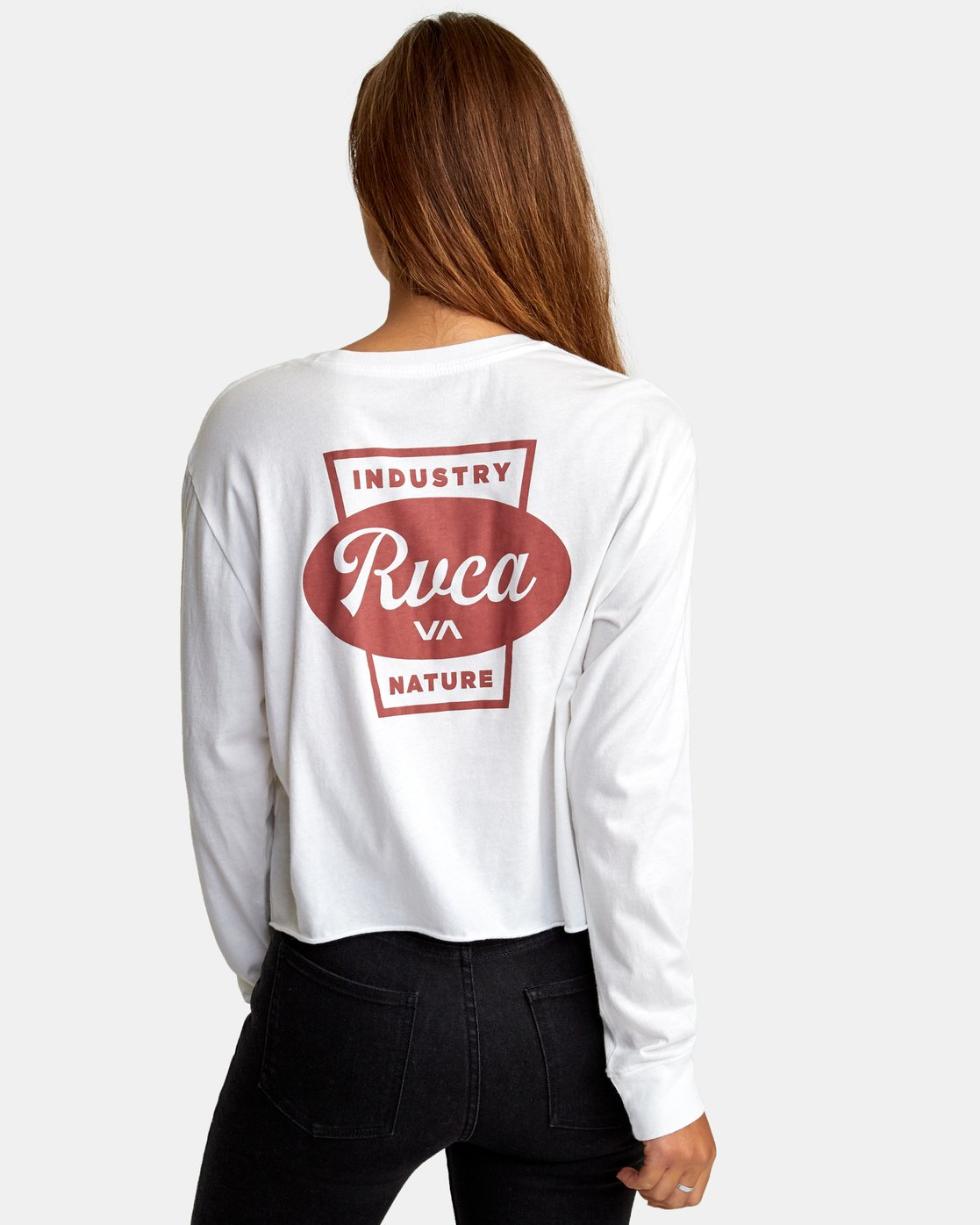 2 Decca Long Sleeve Boyfriend T-Shirt White W467WRDE RVCA