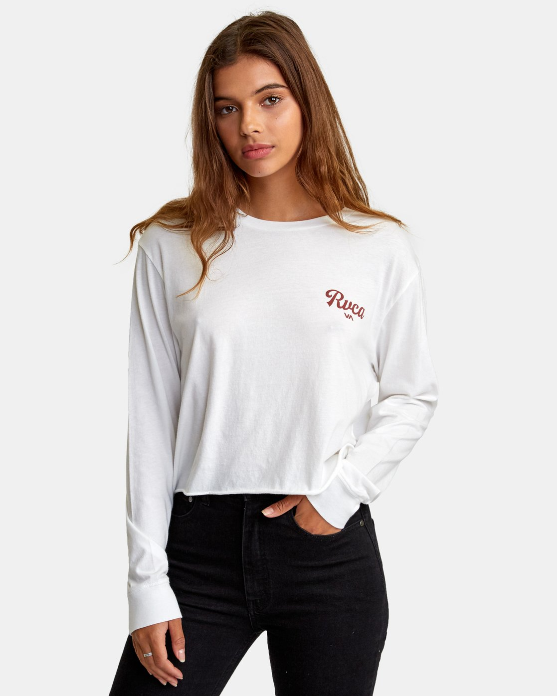 0 Decca Long Sleeve Boyfriend T-Shirt White W467WRDE RVCA