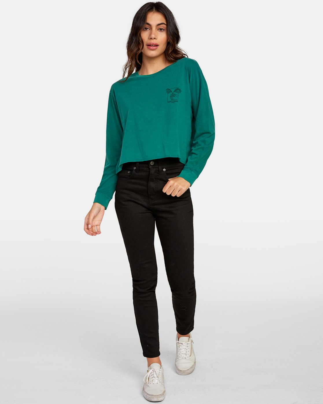 6 Paloma Long Sleeve Boyfriend T-Shirt Green W467WRPA RVCA