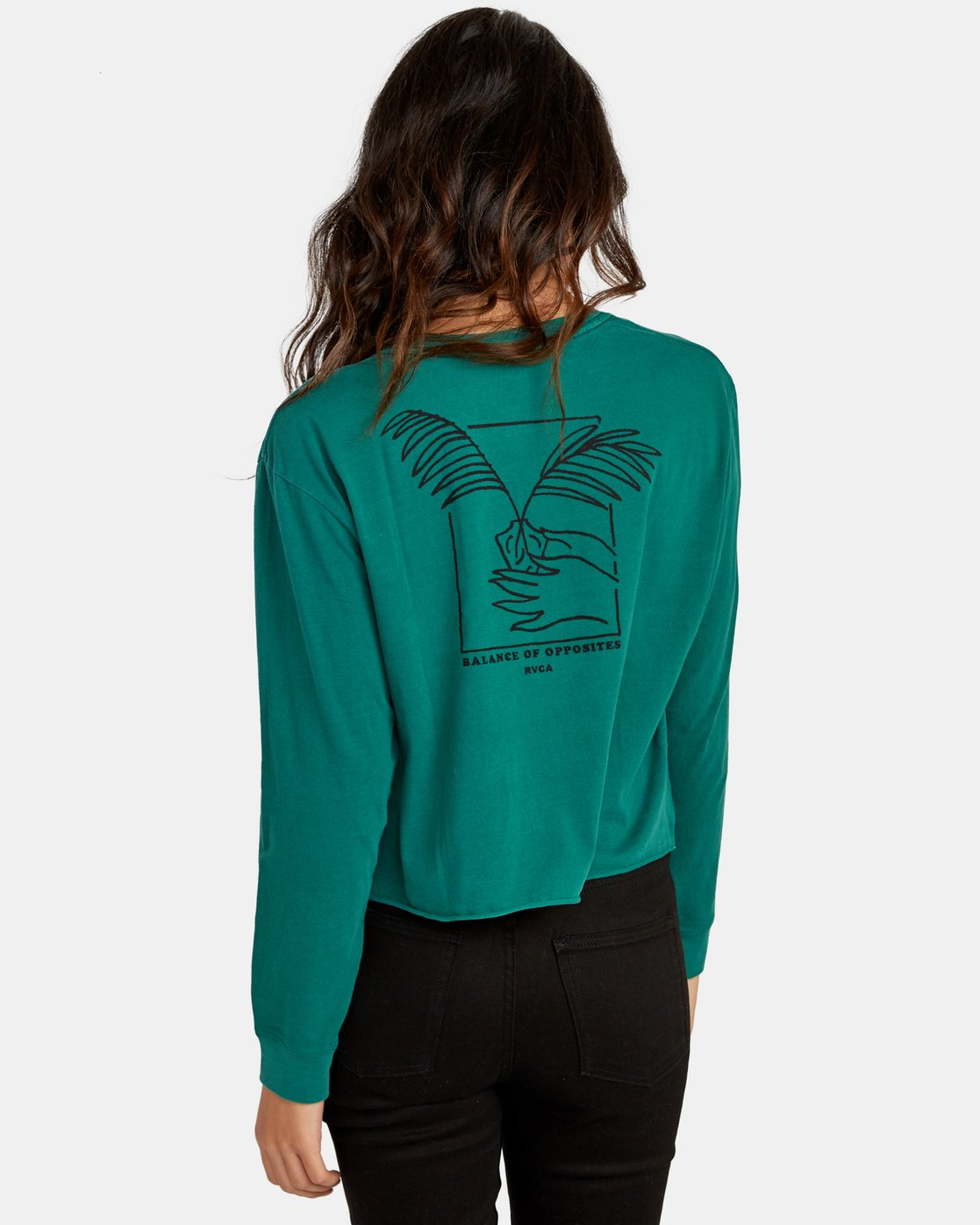 3 Paloma Long Sleeve Boyfriend T-Shirt Green W467WRPA RVCA