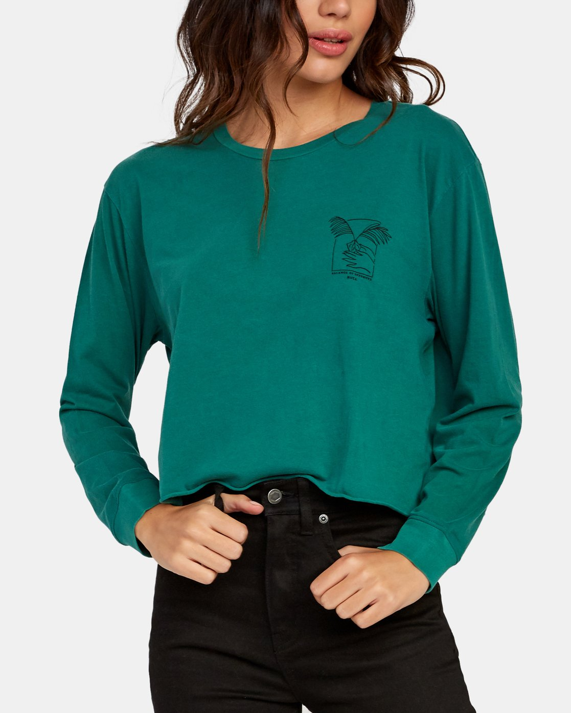 4 Paloma Long Sleeve Boyfriend T-Shirt Green W467WRPA RVCA