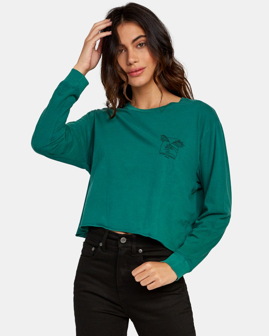 1 Paloma Long Sleeve Boyfriend T-Shirt Green W467WRPA RVCA