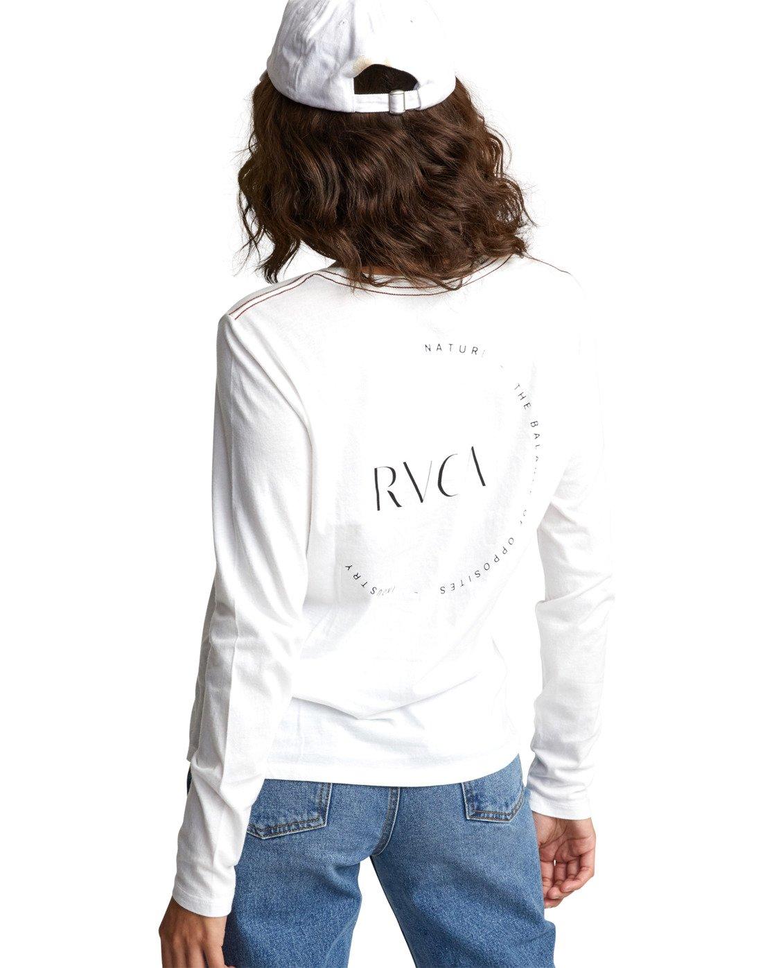 7 ENCIRCLED LONG SLEEVE T-SHIRT White W4683REC RVCA