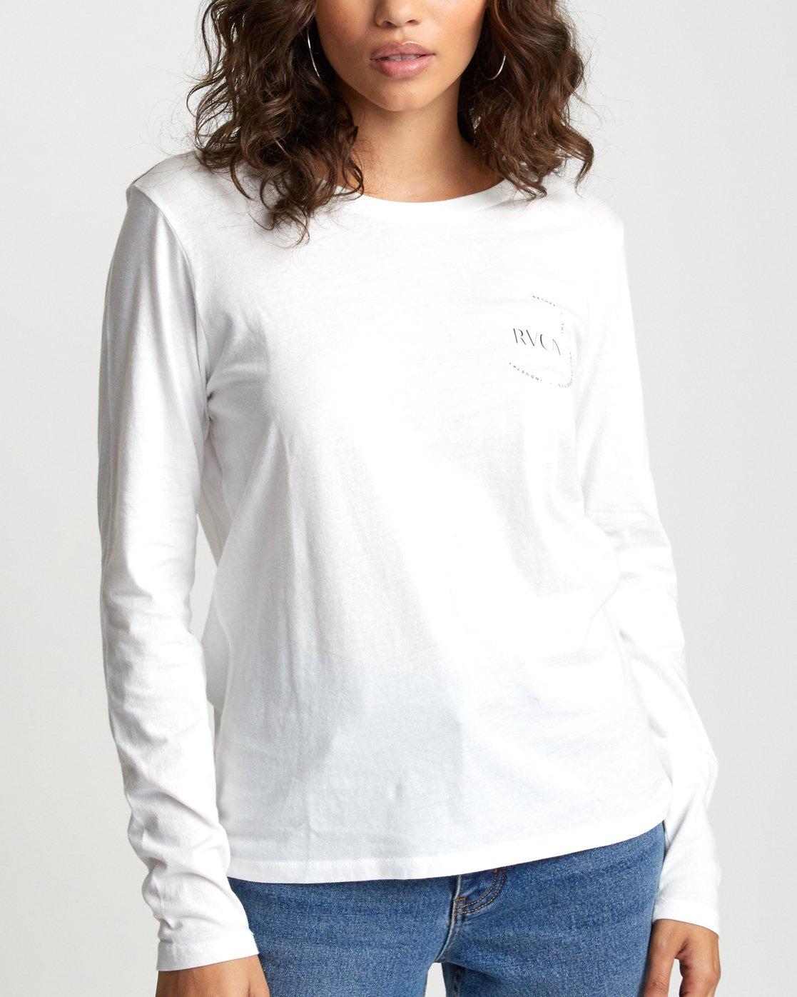 5 ENCIRCLED LONG SLEEVE T-SHIRT White W4683REC RVCA