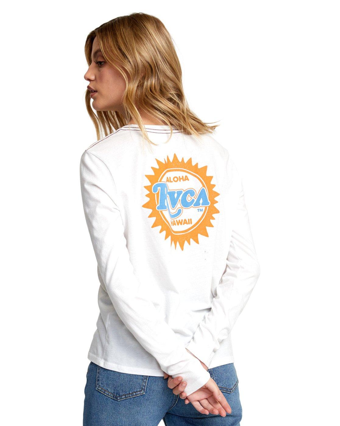 5 SUNBURST ALOHA LONG SLEEVE T-SHIRT White W4683RSA RVCA