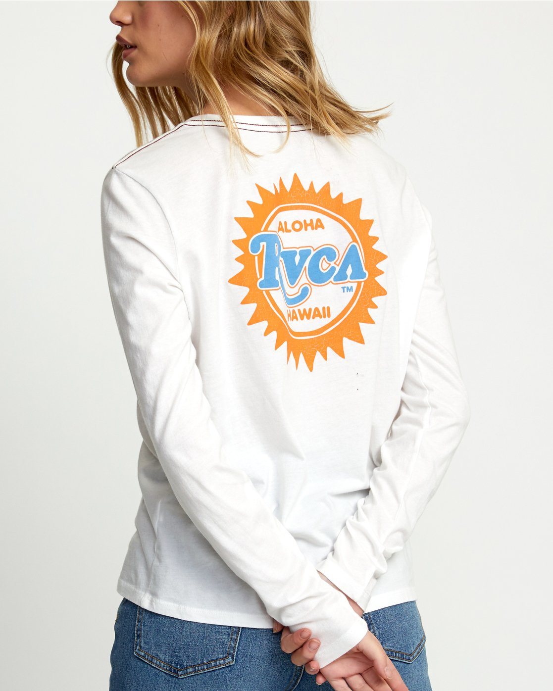 3 SUNBURST ALOHA LONG SLEEVE T-SHIRT White W4683RSA RVCA