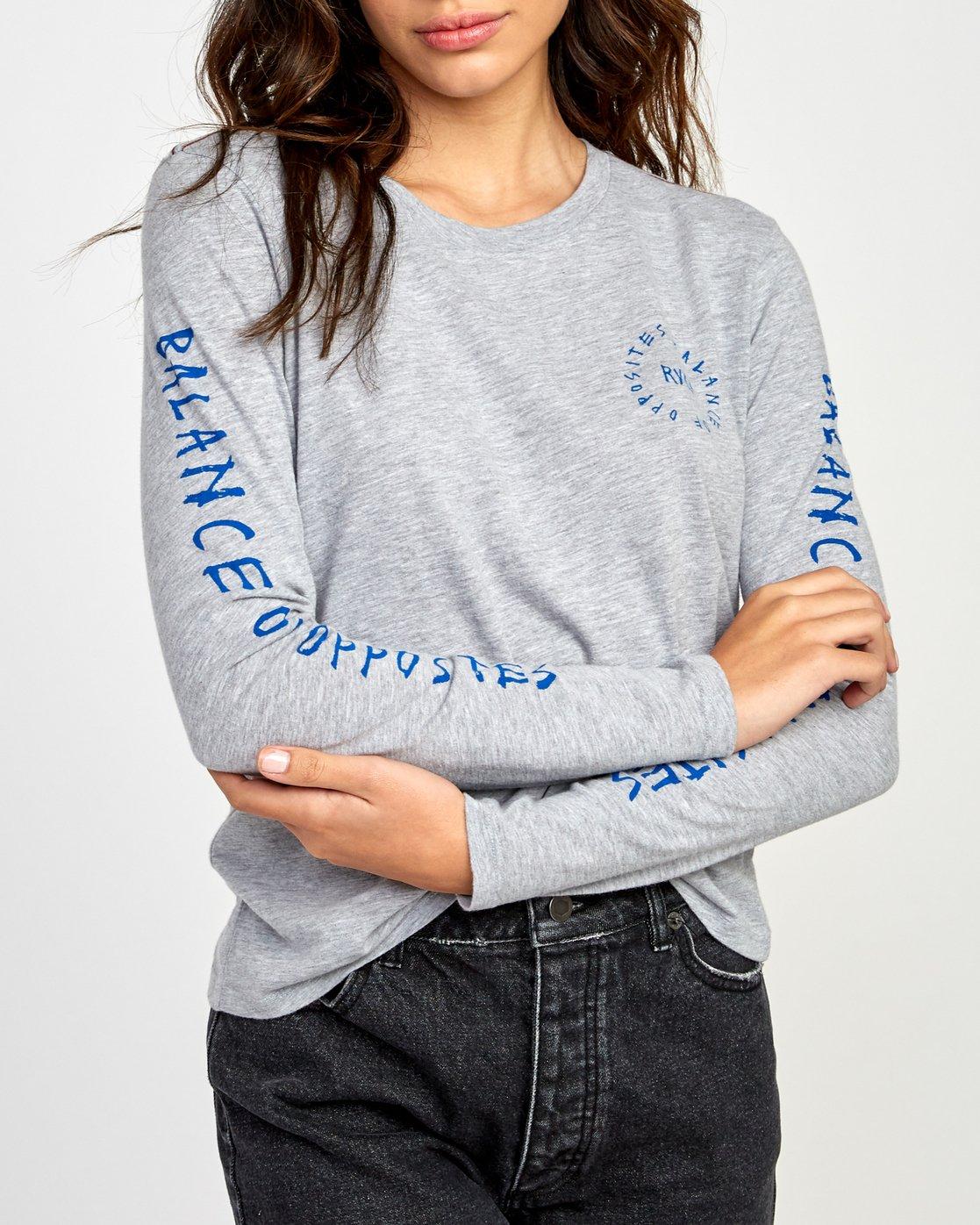 3 Hortonsphere Long Sleeve T-Shirt Grey W468VRHO RVCA
