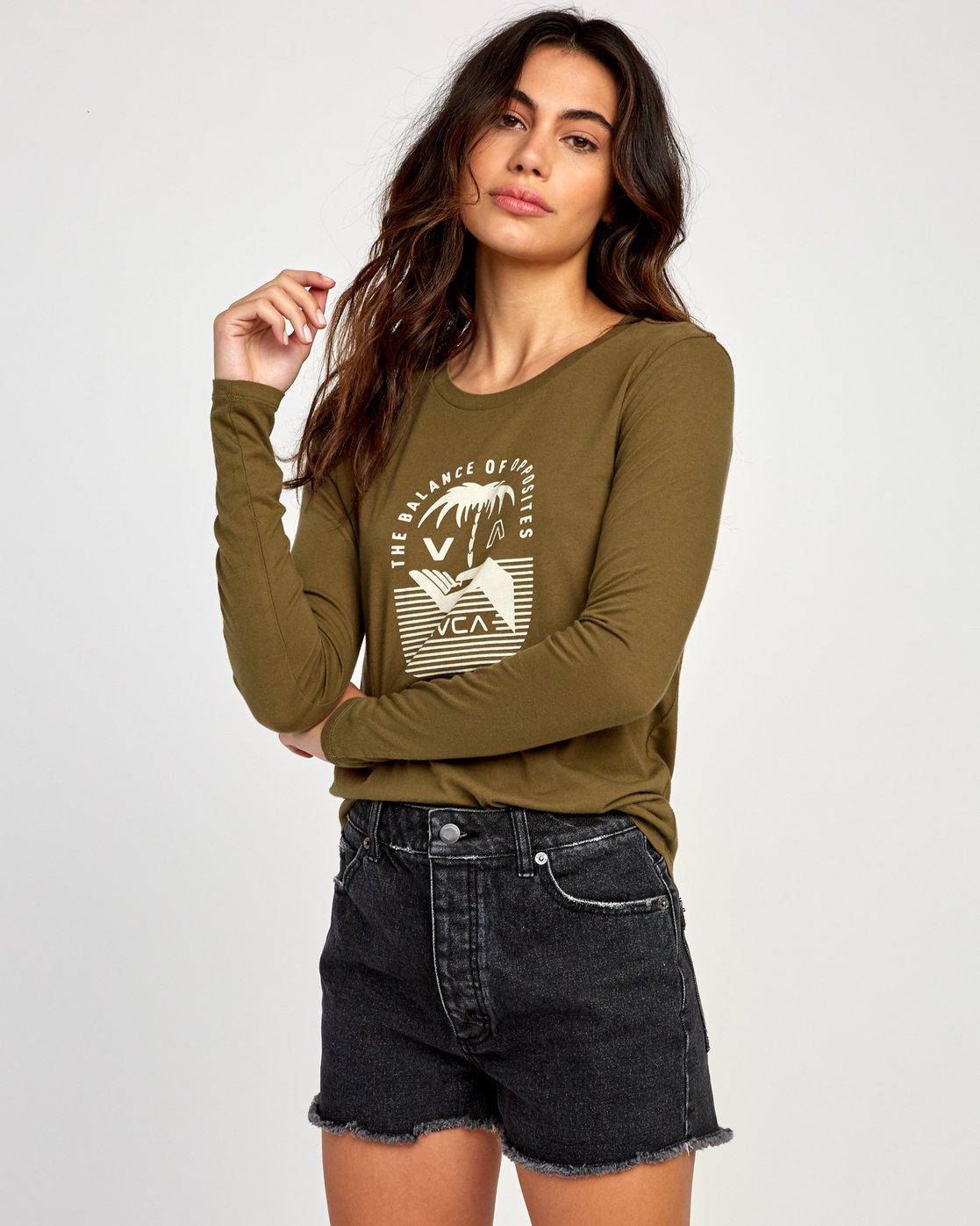 1 Merikesh Long Sleeve T-Shirt Green W468VRME RVCA